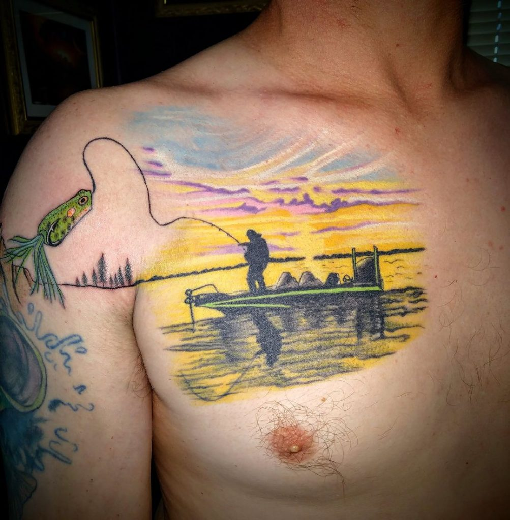 Fishing at sunset tattoo
