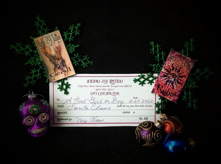 Gift Certificates from Studio 29 Tattoo