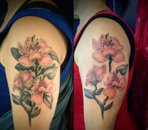 Abstract floral tattoo