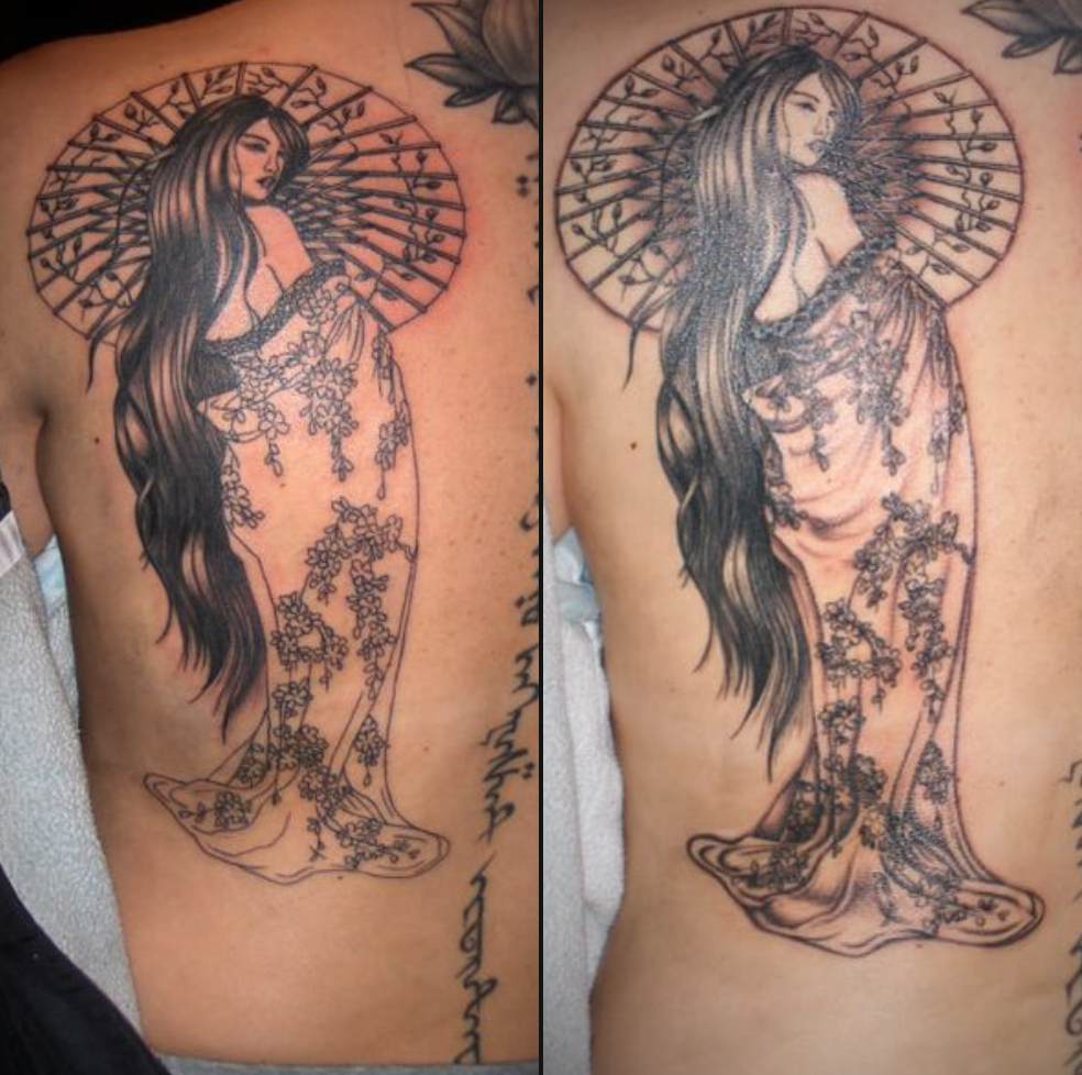 Black and gray geisha tattoo